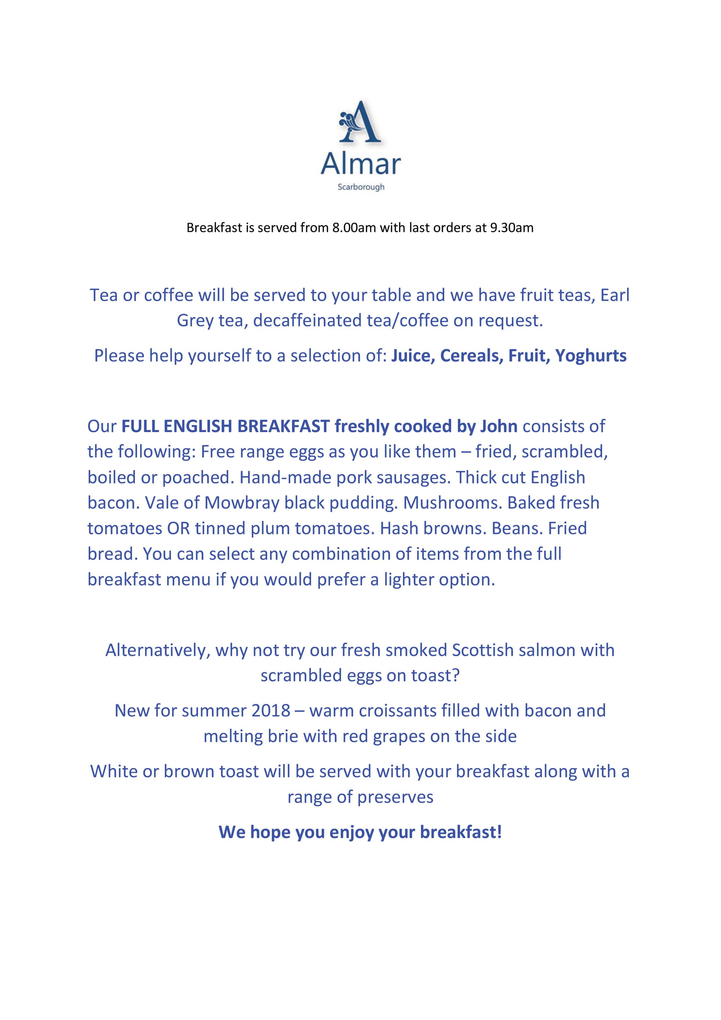 Breakfast - The Almar Guest House